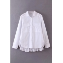 White Stylish Solid Color Flap Pocket Pleated Single Breasted Turn-down Collar Long Sleeve Relaxed Fit High Low Shirt for Women