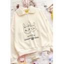 Womens Stylish Pullover Sweatshirt Rabbit Head Letter Pattern Turn-down Collar Long Sleeve Loose Fit Pullover Sweatshirt