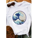 Womens T-Shirt Trendy Ocean Wave Hill Printed Loose Fitted Short Sleeve Round Neck T-Shirt