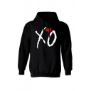 Chic Letter XO Printed Long Sleeve Relaxed Loose Black Pullover Hoodie