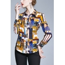 Popular Womens Cat Printed Color Block Button Up Spread Collar Long Sleeve Regular Fit Shirt in Yellow
