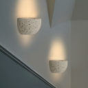 Bowl Wall Sconce Lighting Minimalism Stone 1 Bulb White Wall Mounted Lamp for Doorway