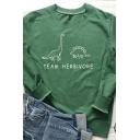 Ladies Simple Letter TEAM HERBIVORE Printed Long Sleeve Oversized Graphic Sweatshirt