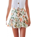 Summer Holiday Fashion Floral Printed Drawstring Waist White Mini A-Line Chiffon Skirt