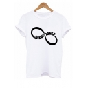 Round Neck Letter Graphic Printed Short Sleeve T-Shirt
