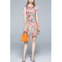 Stylish Sheer Mesh Patchwork Floral Printed Cold Shoulder Round Neck Mini Swing Dress for Women