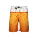 Beach Guys Drawstring Waist Juice Tree Flamingo Fishbone Printed Straight Shorts