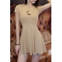 Sexy Moon-Shaped Cutout Front Round Neck Short Sleeve Mini A-Line Cotton Dress