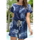Womens Rompers Unique Tie Dye Drawstring Waist Keyhole-Back Boat Neck Loose Fitted Short Sleeve Rompers