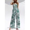 Womens Jumpsuits Stylish Leaf Pattern Single-Breasted Spaghetti Strap Shirred-Back Loose Fitted Sleeveless Wide Leg Jumpsuits