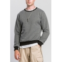 Mens Pullover Sweatshirt Fashionable Contrast Trim Round Neck Long Sleeve Slim Fitted Pullover Sweatshirt