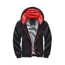 Mens Hooded Sweatshirt Fashionable Fleece Lined Zipper Fly Cuffed Long Sleeve Slim Fit Hooded Sweatshirt