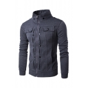 Mens Jacket Chic Button Flap Pocket Decoration Cuffed Zipper Detail High Neck Slim Fitted Long Sleeve Casual Jacket