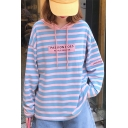 Trendy Girls' Long Sleeve Drawstring Stripe Print Letter LUCKY FIVE Relaxed Fit Hoodie