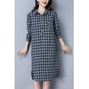 Classic Ladies Plaid Printed Long Sleeve Point Collar Button Up Chest Pocket Slit Sides Mid Shift Shirt Dress
