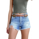 Classic Womens Blue Shorts Medium Wash Distressed Frayed Hem Zipper Fly Slim Fitted Denim Shorts