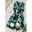Novelty Womens Rompers Flower Leaf Pattern Tie Side Wrap-Front Lapel Collar Regular Fitted Sleeveless Zipper Back Rompers