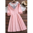 Womens Pretty Contrasted Long Sleeve Peter Pan Collar Bow Patched Mid A-line Dress