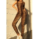 Womens Fancy Jumpsuits Animal Tiger Skin Pattern Scoop Neck Backless Sleeveless Full Length Skinny Jumpsuits