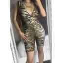 Fashion Rompers Tiger Skin Animal Printed Sleeveless Backless Skinny Deep V Neck Stretch Rompers for Women