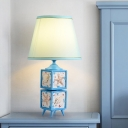 Cube Resin Table Lamp Nordic 1-Head Light/Sky Blue Reading Night Lighting with Barrel Fabric Shade