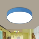 Drum Sleeping Room Ceiling Light Fixture Acrylic LED Modernist Flush Mount Lighting in Red/Yellow/Blue
