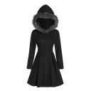 Trendy Womens Solid Color Long Sleeve Fuzzy Trim Hooded Double Breasted Short Pleated Flared Wool Coat