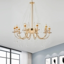 Gold 8-Bulb Ceiling Chandelier Minimal Faceted Crystal Candlestick Pendulum Light