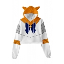 Adorable Girls Bow Contrasted Pattern Long Sleeve Drawstring Relaxed Crop Hoodie