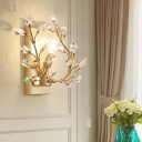 Modernist Branch Wall Sconce 1 Light Cut Crystal Indoor Wall Lighting Ideas in Gold/Black