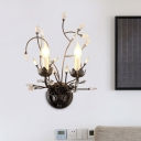 Black 2 Bulbs Wall Mounted Light Modern Beveled Crystal Branching Sconce Lamp Fixture