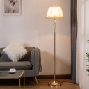 Single Standing Light Minimalist Living Room Floor Lamp with Barrel Beige Fabric Shade in Gold
