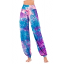 Fashion Womens Trousers Tie Dye Multicolored Pattern Elastic Waist Full Length High Rise Gathered Cuff Relaxed Fit Trousers