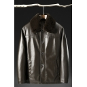 Classic Mens Jacket Fleece Lined Turn-down Collar Button-down Regular Fit Long Sleeve Leather Jacket