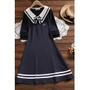 Preppy Girls sLetter Sgclassic Anchor Embroidered Long Sleeve Striped Point Collar Bow Tied Mid A-line Dress in Navy