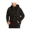 Mens Fashion Hoodie Solid Color Drawstring Kangaroo Pocket 1/4 Zip Long-sleeved Regular Fit Hoodie