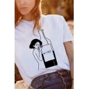 Funny Womens Letter Wine Print Round Neck Short Sleeve Loose Fit Graphic T-Shirt