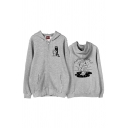 Popular Cartoon Letter Graphic Printed Pocket Long Sleeve Zipper Relaxed Fit Hooded Sweatshirt