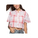 Chic Womens Tartan Printed Single Breasted Pleated Stand Collar Bell Sleeve Loose Fit High Low Blouse Top in Red