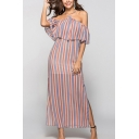 Stylish Striped Print Open Back Halter Ruffle Sleeves Maxi Sheath Slit Dress for Women