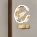 C-Shape and Star Wall Lighting Ideas Nordic Style Acrylic LED Bedroom Wall Lamp Fixture in Gold, Warm/White Light
