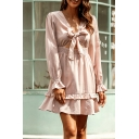 Pretty Womens Long Sleeve Bow Tie Front V-neck Cut out Ruffled Short A-line Dress in Pink