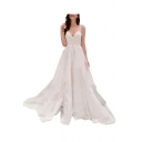 Gorgeous Womens White Applique Hollow out V-neck Open Back Maxi Flowy Pleated Wedding Dress