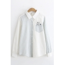 Simple Girls Stripe Printed Rabbit Embroidered Chest Pocket Long Sleeve Turn down Collar Button up Curved Hem Loose Shirt in White