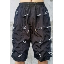 Cool Mens Shorts Bungee-Style Embellished Knee-Length Drawstring Waist Regular Fitted Relaxed Shorts