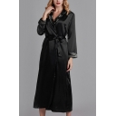 Retro Womens Contrast Trim Bow Tie Waist Shawl Collar Long Sleeve Silk Maxi A-Line Wrap Nightgown