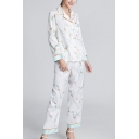 Chic Ladies Flower Printed Contrast Piping Single Breasted Chest Pocket Lapel Full Sleeve Regular Fit Shirt & Ankle Length Wide-Leg Pants Pajama Set in White