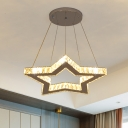Modern Star LED Pendant Chandelier Crystal Block Sleeping Room Hanging Ceiling Light in Gold