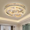 Loving Heart Beveled Crystal Ceiling Light Contemporary LED Chrome Flush Mount Lamp for Bedroom