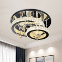 Faceted Crystal Ring Ceiling Light Fixture Modern Style LED Chrome Semi Flush Mount for Bedroom